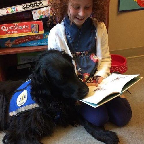 facility dog at aim academy with child reading